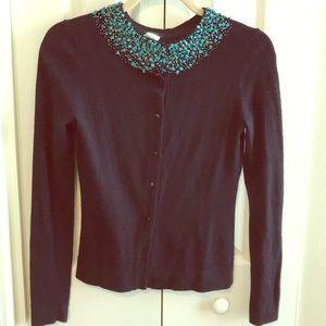 J. Crew cardigan wool cashmere angora small beads